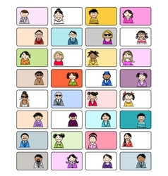 Set of business cards with people icons for your vector image