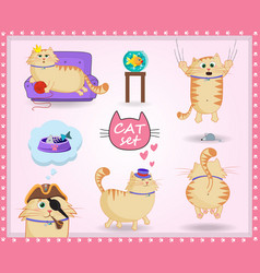 set of cute cartoon cat in life situations on vector image