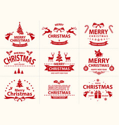 set red merry christmas label vector image