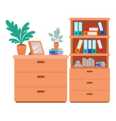 Shelving with books isolated icon vector