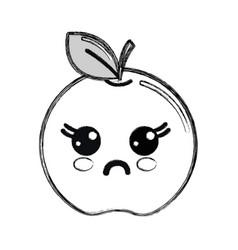 Silhouette kawaii cute surprised apple fruit vector
