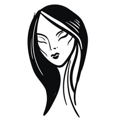 simple black and white sketch of a girl with vector image
