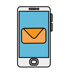 smartphone device with envelope vector image