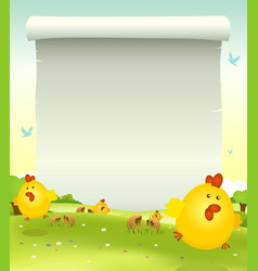 Spring easter chicken background vector