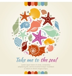 Summer concept with shells and sea stars vector
