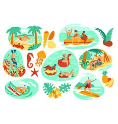 Summer vacation activity at seaside resort people vector