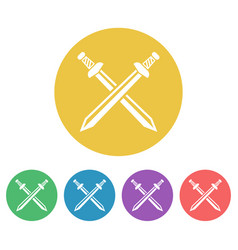 Swords set of colored round icons vector