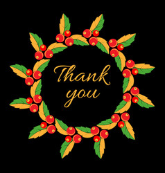 thank you phrase with round frame wreath vector image