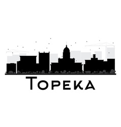 Topeka City skyline black and white silhouette vector