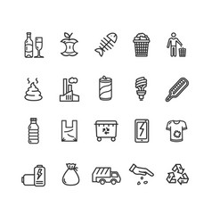 trash signs black thin line icon set vector image