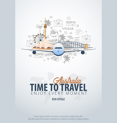 travel to australia time to travel banner with vector image