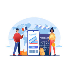 travelers buying ticket on flight via mobile app vector image