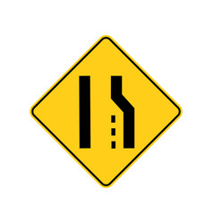 usa traffic road signsright lane ends aheadif vector image