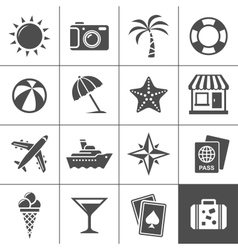 Vacation and travel icons vector image