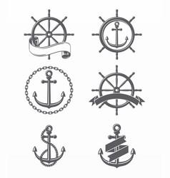 variety nautical anchor and wheels vector image