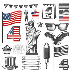 Vintage independence day elements collection vector