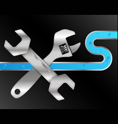 water pipe and repair tool vector image