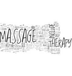 what should you know about massage therapy text vector image vector image
