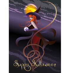 witch with a crystal ball vector image