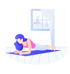 Young fit woman doing plank exercise core workout vector