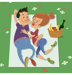 couple having a picnic vector image