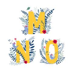 Floral alphabet letter m n o set vector