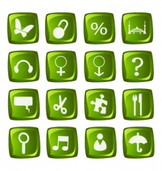 icons collection on green buttons vector image vector image