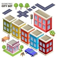 Isometric city set vector image vector image