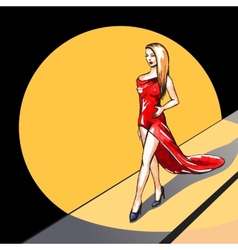 Model on the runway - vector image vector image