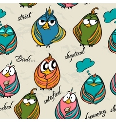 Seamless texture with funny birds vector image