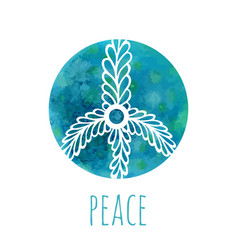 watercolor background with peace sign music and vector image