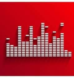 White digital equalizer background on red vector image