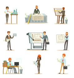 architect profession set of vector image