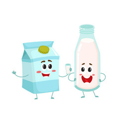 funny milk characters bottle and carton box vector image