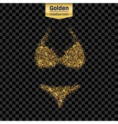 Gold glitter icon of swimsuit isolated on vector