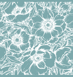 seamless pattern with hand drawn anemone vector image vector image