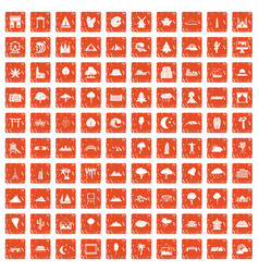 100 view icons set grunge orange vector image vector image