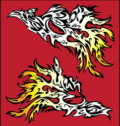 burning fire flames silhouette design vector image vector image