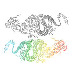 colorful and black chinese dragons vector image vector image