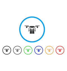 drone gift delivery rounded icon vector image vector image