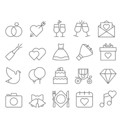 Outline web icon set - wedding vector image vector image