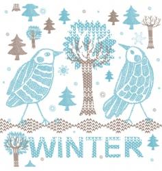 winter knitting scene vector image vector image