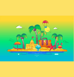 at the seaside - line travel vector image vector image