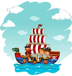 Children riding on viking boat vector image