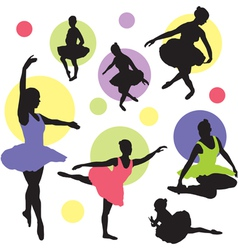 set ballet silhouettes vector image vector image