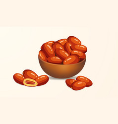 A crowded dates in wooden bowl for iftar vector