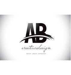Ab a b letter logo design with swoosh and black vector