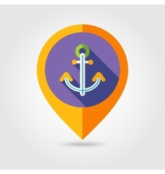 Anchor flat mapping pin icon with long shadow vector