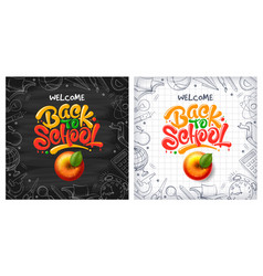 back to school backgrounds with red apple and vector image