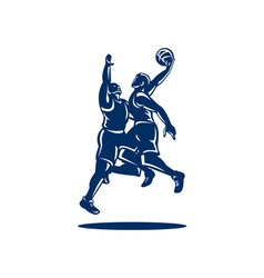 Basketball Player Dunk Block Retro vector image